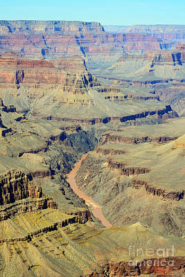 Colorado River Flowing Red Through Inner Gorge Grand Canyon National Park Art Print by Shawn O'Brien