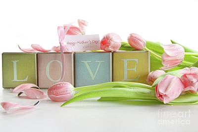 Photograph - Colored Blocks With Tulips And Gift Card by Sandra Cunningham