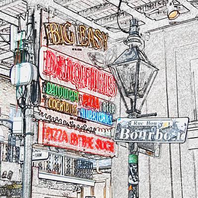 Colorful Neon Sign On Bourbon Street Corner French Quarter New Orleans Colored Pencil Digital Art Art Print