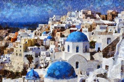 Colorful Oia In Santorini Island Art Print