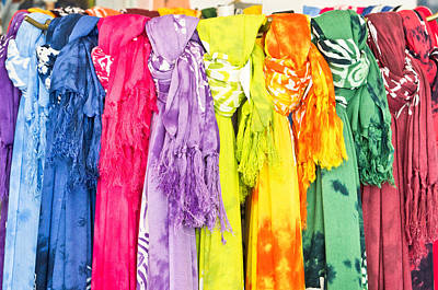 Colorful Scarves Art Print by Tom Gowanlock