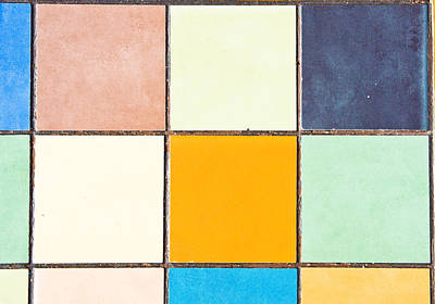 Grid Photograph - Colorful Tiles by Tom Gowanlock