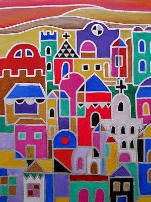 Mexicano Painting - Colorful Town Of Guanajuato Mexico by Pristine Cartera Turkus