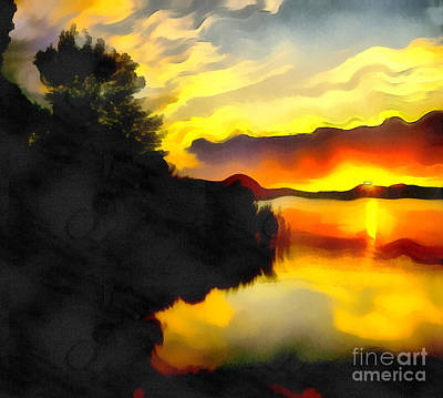 Water Filter Painting - Colors At The Lake by Odon Czintos