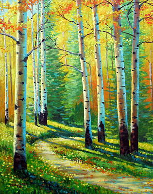 Aspen Tree Painting - Colors Of The Season by David G Paul