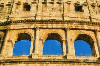 Painting - Colosseum In Rome Under Late Afternoon Light by George Atsametakis