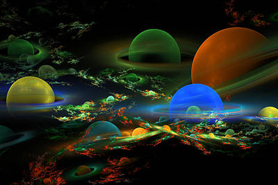 Photograph - Computer Generated Spheres Abstract Fractal Flame Art by Keith Webber Jr