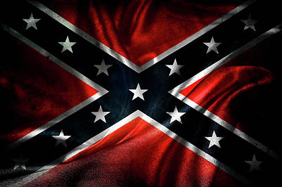 Red Roses - Confederate flag 1 by Les Cunliffe