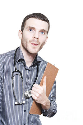 Confident Male Medical Professional With Clipboard Art Print
