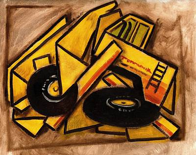 Truck Painting - Synthetic Cubism Construction Truck Art Print by Tommervik