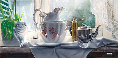 Silver Tea Pot Painting - Controluce by Danka Weitzen
