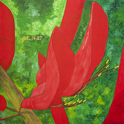 Painting - Coral Bean Tree by Mark Robbins