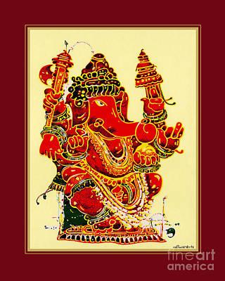 Ganapathi Painting - Coral Ganapathi by Santi  Arts