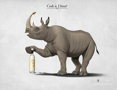 Rhinoceros Drawing - Cork It Durer by Rob Snow