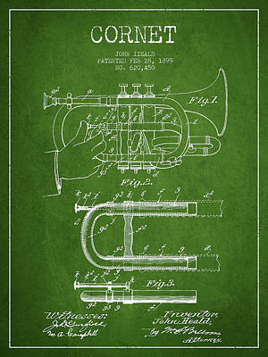 Trumpet Digital Art - Cornet Patent Drawing From 1899 - Green by Aged Pixel