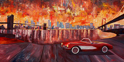 Skyline Painting - Corvette And Manhattan With Two Bridges  by M Bleichner