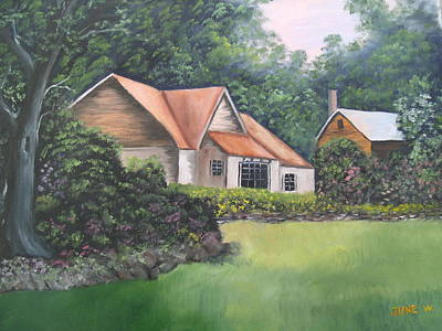 Cottage In The Woods Art Print by June Weaver