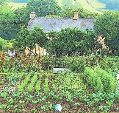 Farm Scene Digital Art - Country Cottage by Jan Matson