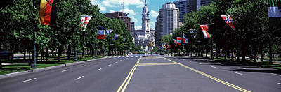 Philadelphia Scene Photograph - Country Flags On Trees Along Martin by Panoramic Images