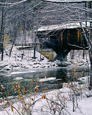 Covered Bridge In Wintry Vermont Art Print by Mountain Dreams