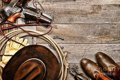Cowboy Gear Art Print by Olivier Le Queinec