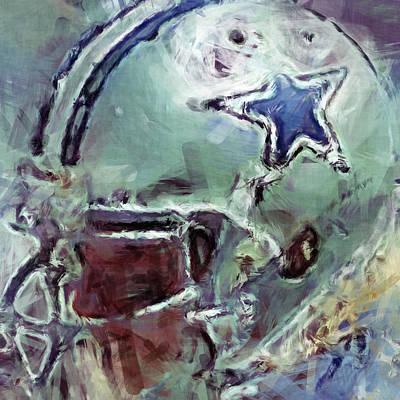 Gridiron Digital Art - Cowboys Art Abstract by David G Paul