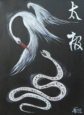 Kung Fu Mixed Media - Crane  And Snake by Adriana Vasilut