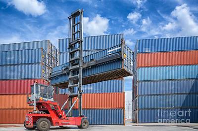 Lift Truck Photograph - Crane Lifter Handling Container Box Loading by Anek Suwannaphoom