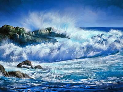 Rocky Digital Art - Crashing Waves by Dale Jackson