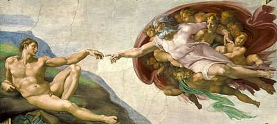 Papal Painting - Creation Of Adam by Michelangelo Buonarroti