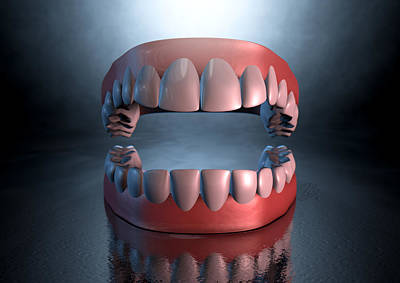 Eerie Digital Art - Creepy Teeth  by Allan Swart