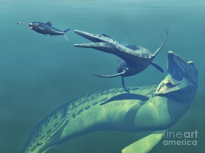 Cretaceous Marine Predators, Artwork Print by Walter Myers