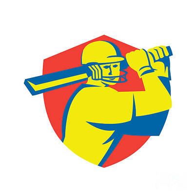 Batsman Digital Art - Cricket Player Batsman Batting Shield Retro by Aloysius Patrimonio