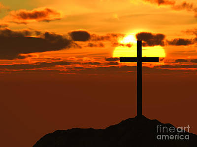 Passover Digital Art - Cross / Crucifix On Hilltop Against Beautiful Sunset by Shazam Images