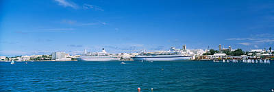Capital Ship Photograph - Cruise Ships Docked At A Harbor by Panoramic Images