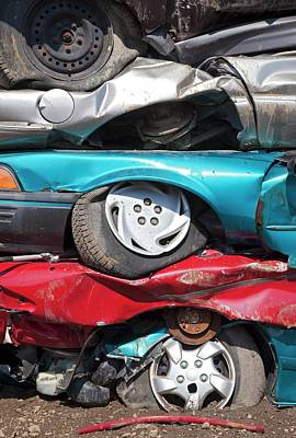Junk Photograph - Crushed Cars At Scrapyard by Jim West
