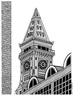 Boston Ma Drawing - Custom House Tower by Conor Plunkett