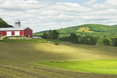 Maine Meadow Photograph - Cutting Hay In Summer On Maine Farm by Keith Webber Jr
