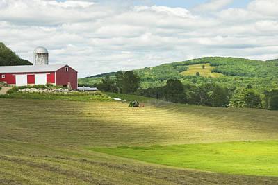 Cutting Hay In Summer On Maine Farm Art Print