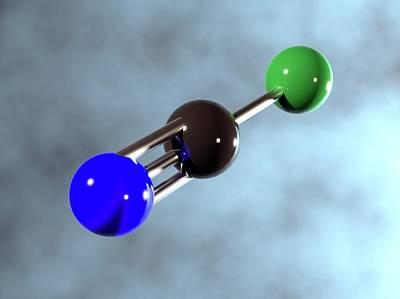 Computer Generated Photograph - Cyanogen Chloride Molecule by Indigo Molecular Images