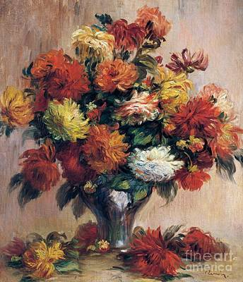 Vase Painting - Dahlias by Pierre-Auguste Renoir