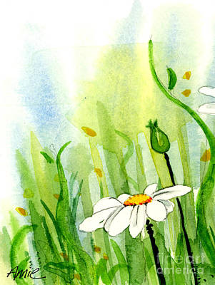 Daisy Field 1 Of 2 Art Print by Annie Troe