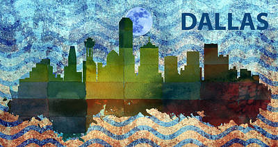 Skyscraper Mixed Media - Dallas City Skylines Silhouette by MotionAge Designs