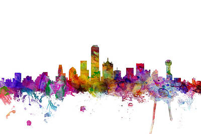 Dallas Digital Art - Dallas Texas Skyline by Michael Tompsett