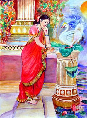 Damayanthi And The Swan Art Print by Banu's Art work