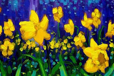 Varnish Painting - Dancing Daffodils Cropped  by John  Nolan