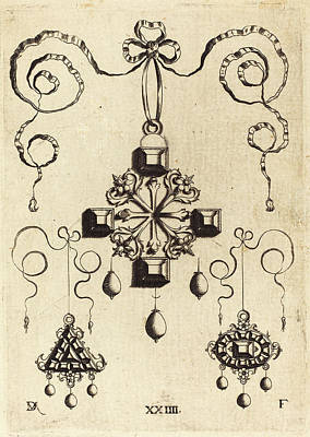 Cross Pendant Drawing - Daniel Mignot German, Active 1593-1596 by Quint Lox