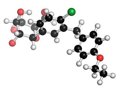 Molecule Photograph - Dapagliflozin Diabetes Drug Molecule by Molekuul