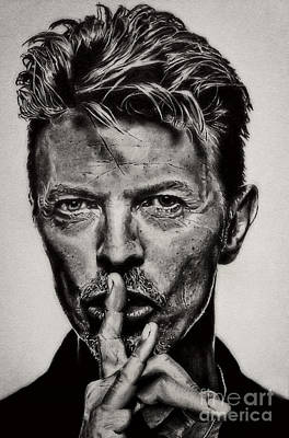 Drawing - David Bowie - Pencil Abstract by Doc Braham