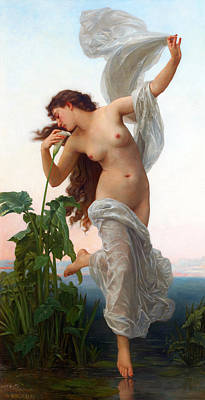 Shawl Painting - Dawn  by William-Adolphe Bouguereau